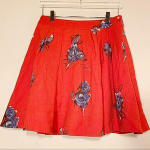 Odille | Red Ikat Floral Wool Skirt | Size 2